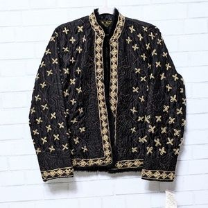 New Mirasol Embroidered Quilted Open Jacket Large